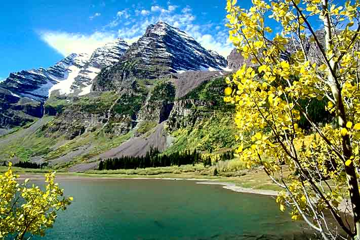 Maroon Bells at Crater Lake, Aspen, CO.