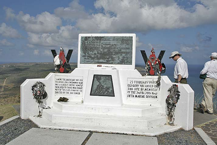 Marine Corps monument on top of Mt Suribachi