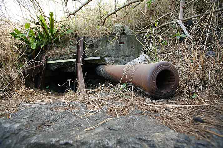 Destroyed Japanese gun on Mt. Suribachi