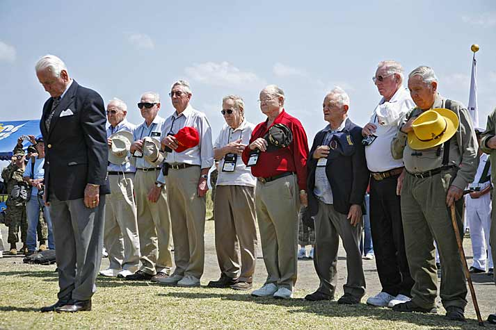 LTGen Snowden USMC leads Iwo Jima survivors at memorial