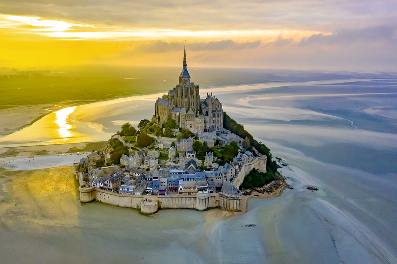 Sunset over Mont St Michel, Normandy, France