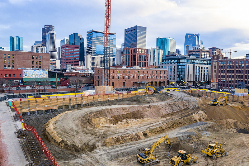 Downtown Denver construction site for new Colorado Rockies hotel