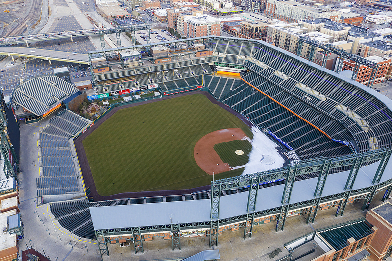 Coors Field in downtown Denver. Home of the Colorado Rockies.