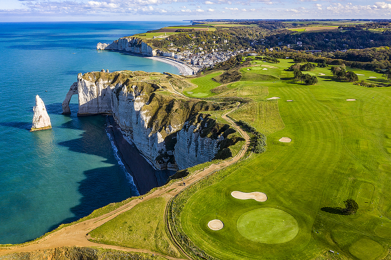 Golf course at d'Etretat, Normandy, France along English Channel