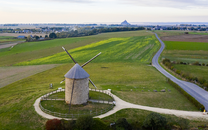 Windmill and Mont St Michel, Normandy, France