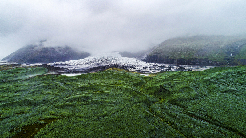 Iceland glacier in the fog