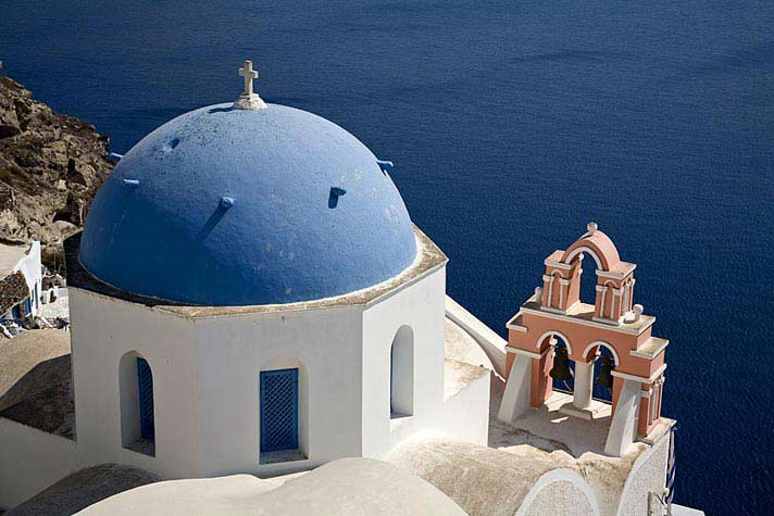 Blue Church Dome, Santorini, Greece